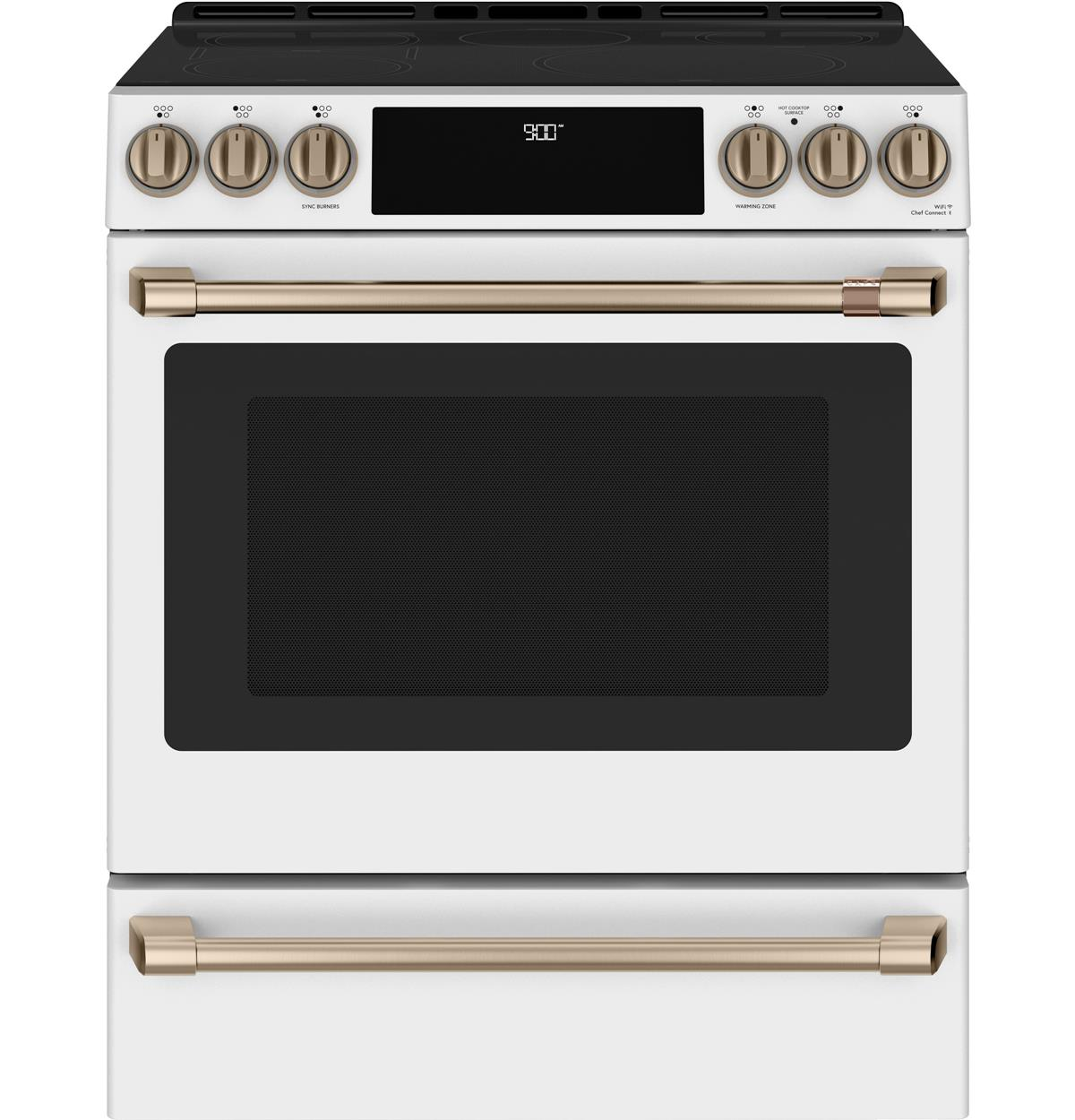 "Café™ 30"" Smart Slide-In, Front-Control, Induction and Convection Range with Warming Drawer"