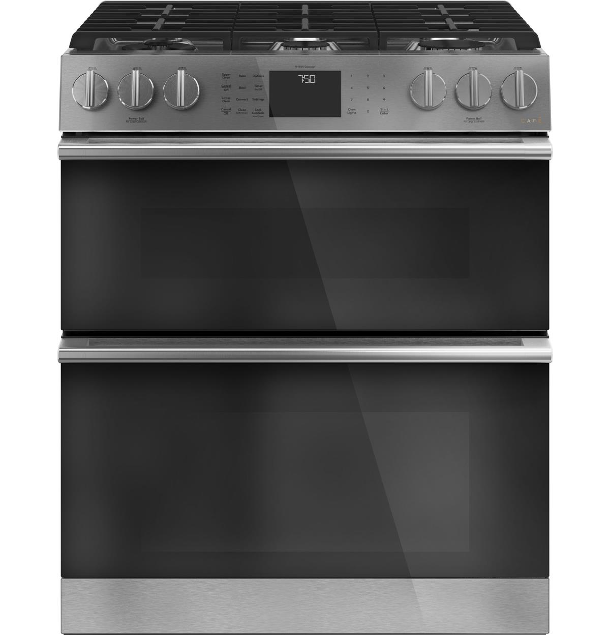 "Café™ 30"" Smart Slide-In, Front-Control, Gas Double-Oven Range with Convection in Platinum Glass"