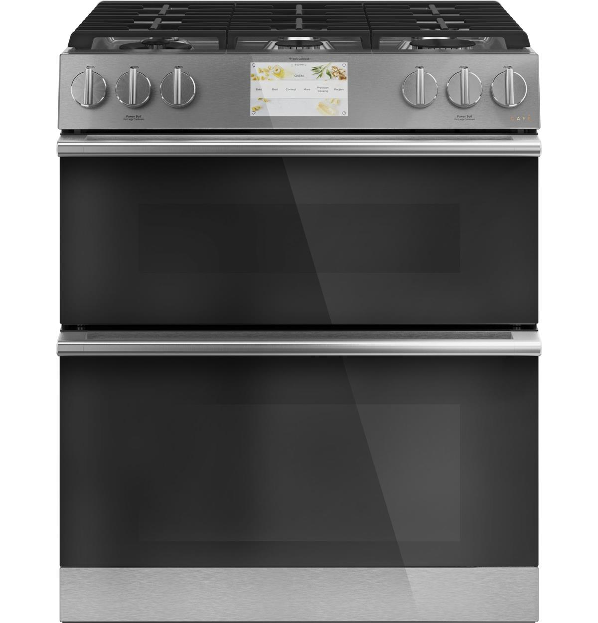 "Café™ 30"" Smart Slide-In, Front-Control, Dual-Fuel, Double-Oven Range with Convection in Platinum Glass"