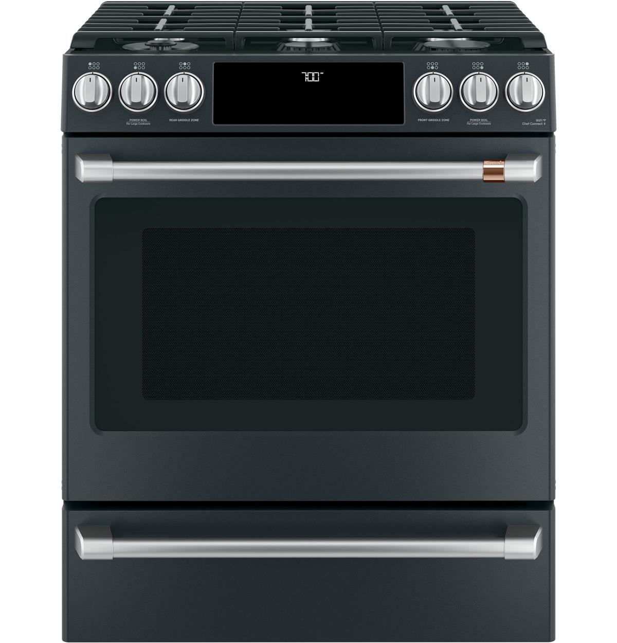 "Café™ 30"" Smart Slide-In, Front-Control Gas Range with Convection Oven"