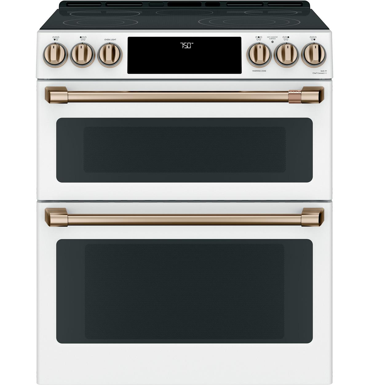 "Café™ 30"" Smart Slide-In, Front-Control, Radiant and Convection Double-Oven Range"