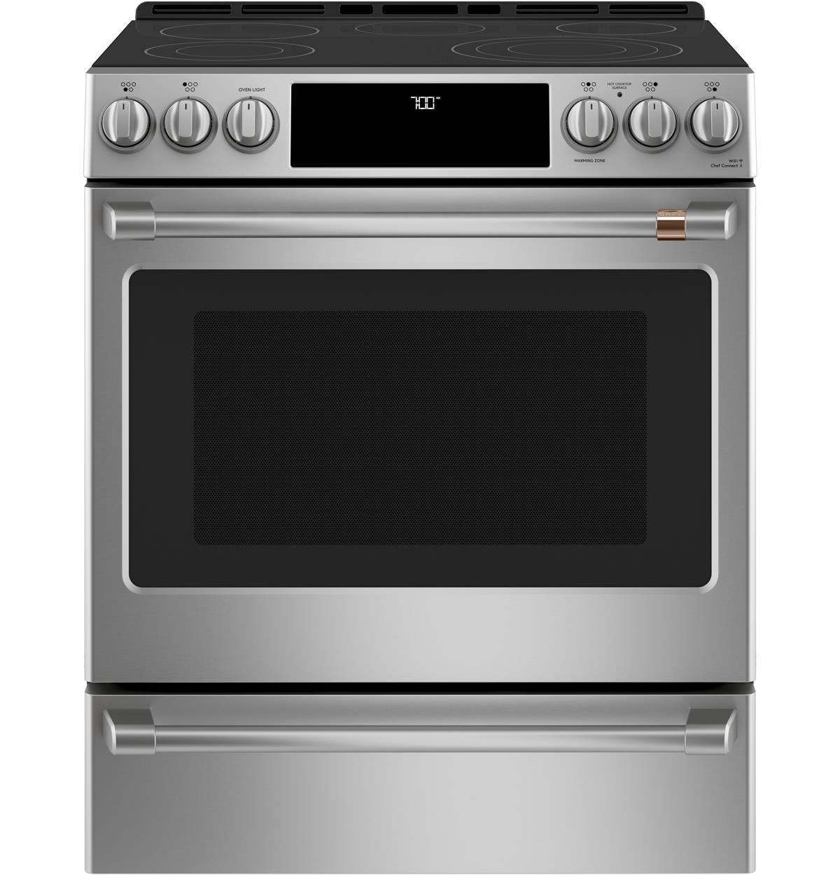 "Café™ 30"" Slide-In Front Control Radiant and Convection Range with Warming Drawer"