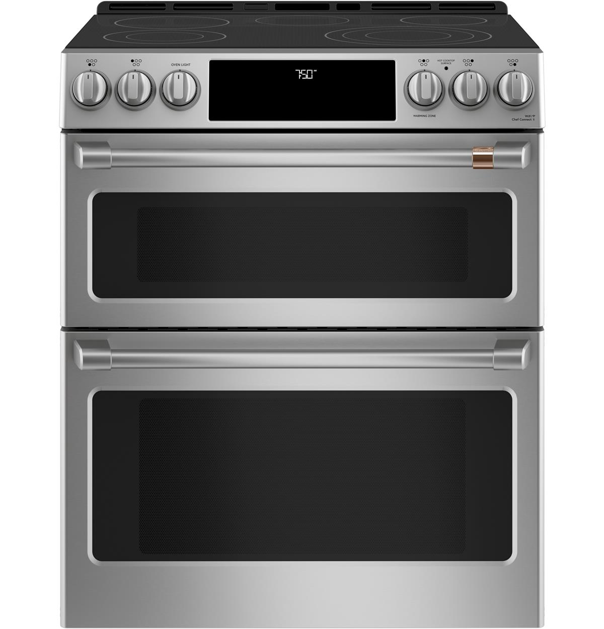 "Café™ 30"" Slide-In Front Control Radiant and Convection Double Oven Range"