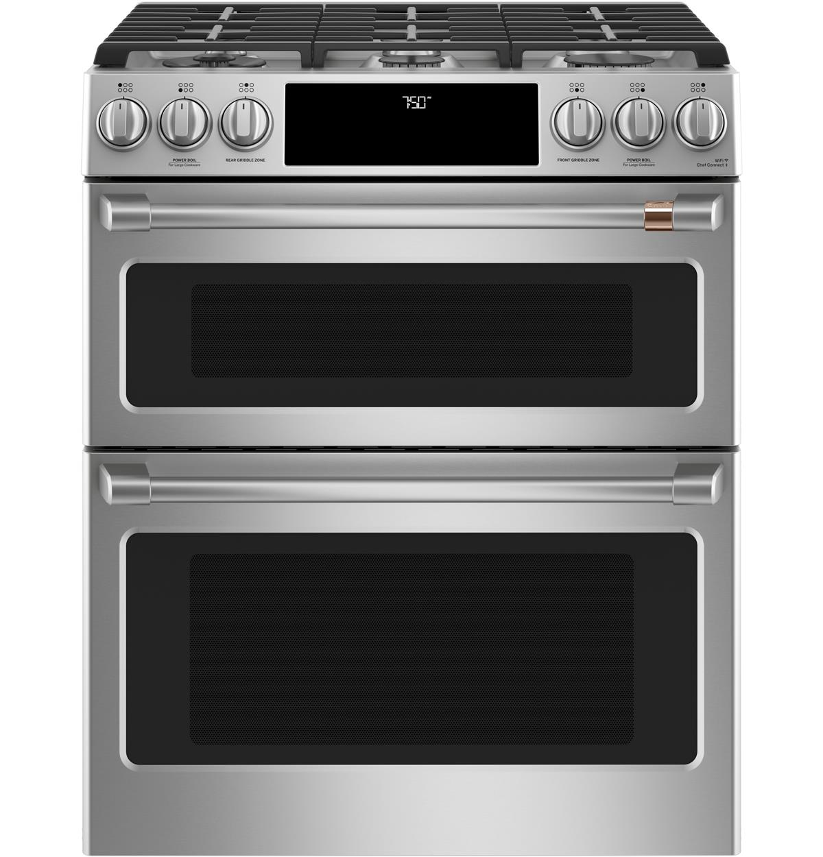 "Café™ 30"" Smart Slide-In, Front-Control Gas Double-Oven Range with Convection"