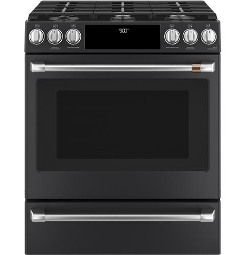 "Café™ 30"" Slide-In Front Control Dual-Fuel Convection Range with Warming Drawer"